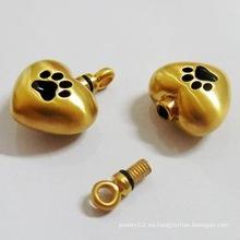 Metal de acero inoxidable 14k 18k 24k oro plateado cenizas para mascotas cremación colgante