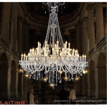 Luxe moderne grand grand hall de l'hôtel bougie cristal lustres LED verre pendentif lumière pour l'intérieur