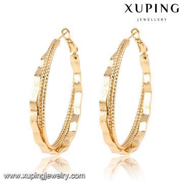 91658 Xuping 2016 Boucles d'oreille rondes faites à la main de forme ronde sans pierre