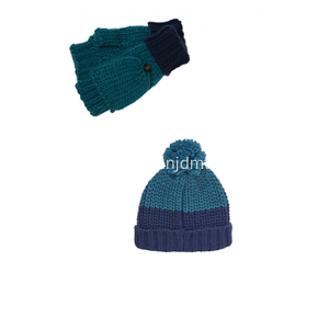 Chunky Beanie Hat and Gloves with flip Cover