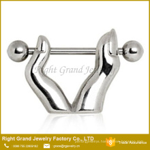 Wholesale Fashion 316L Surgical Steel Nipple Ring With Fingers