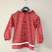 Red Stripe Reflective PU Rain Jacket/Raincoat
