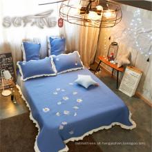Ouro Sufang melhor venda daisy azul logotipo sala de estar tampa de cama set 300TC colchas conjunto de cama