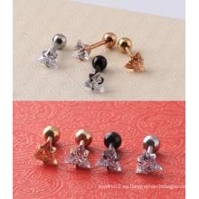 Acero quirúrgico CZ transparente triángulo de oído falso Cargamento Tragus Plug Earrings