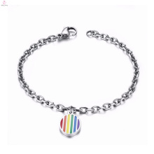Gay pride stainless steel clasp jewellery bracelet with rainbow charms