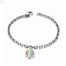 Pulseira de jóias de aço inoxidável de orgulho gay com encantos de arco-íris