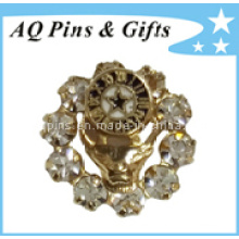 High Quality Metal Brooch Pin with Diamond Badge (badge-036)