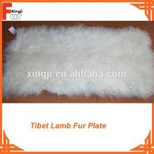 Branqueada boa onda branco tibet cordeiro pele placa