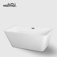 Trapezoid Center Drain Freestanding BathTub in White