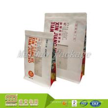 Bolsa de papel de Kraft de la parte inferior plana a prueba de humedad del escudete lateral modificado para requisitos particulares con la ventana y la cremallera claras