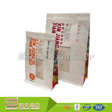 Customized Side Gusset Moisture Proof Square Flat Bottom Kraft Paper Bag With Clear Window And Zipper