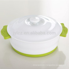 Cocotte en céramique avec couvercle antidérapant en silicone et base
