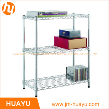 Hot Sale Adjustable 3-Tier Wire Shelving Unit (Black / Silver / White)