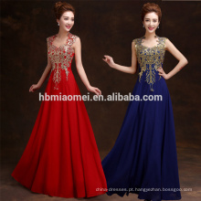2016 suzhou fornecedor vestido de baile longo noite dourada sexy vestido de noite