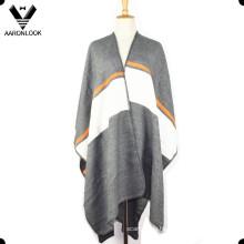 2016 Женская мода высокого качества Полосатый платок пончо