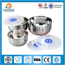 3pcs stainless steel keep fresh bowl set with plastic lid
