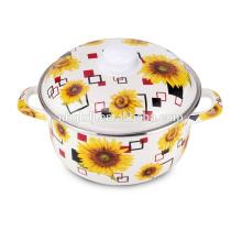 full sunflower enamel straitpot woth plastic knob/soup pot /steamer pot