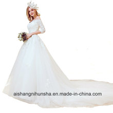 The Bride Married Boat Neck Embroidery Luxury Wedding Dress