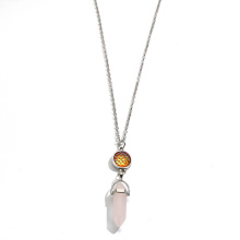 écailles de poisson prisme hexagonal collier de quartz rose