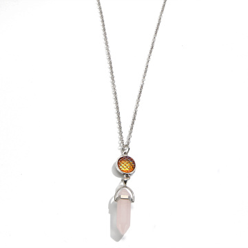 fish's scales hexagonal prism Rose Quartz Necklace