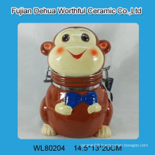 Cutely monkey design ceramic seal pot