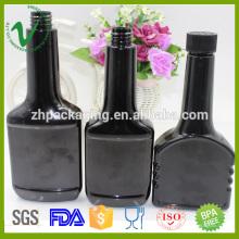 Uso industrial desechable vacío botella ámbar 300ml forma plana con tapa de prueba de niño