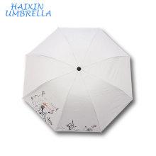 En gros Promotion pour DIY Logo Peinture Personnalisé Fleur Imprimer Solide Couleur Dye Sublimation Blanc Parapluie pour Cadeaux De Mariage
