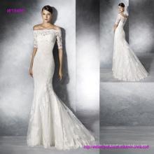 Elegant aus Schulter Trasparent Lace Back und Halbarm Brautkleid