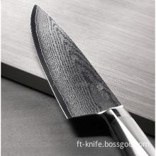 5pcs Japanese Damascus kitchen knife set S/S handle with wood block