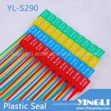 Selos de recipiente plástico com logotipo e número de série