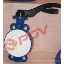 válvula de borboleta manual do assento da turbina PTFE do carbonato de cálcio com turbina manual