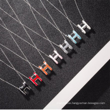 Fashion H Letter Rose Gold Necklace Female Ins Simple Design White Gold Oval Enamel Pendant Necklace for Girls