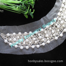 Plastic Beads Lace Beaded Neckline for Ladies Dress