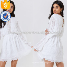 White Lace Wide Long Sleeve Embroidered Mini Summer Dress Manufacture Wholesale Fashion Women Apparel (TA0236D)