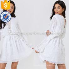 Широкий белый кружева вышитые с длинным рукавом мини летнее платье Производство Оптовая продажа женской одежды (TA0236D)