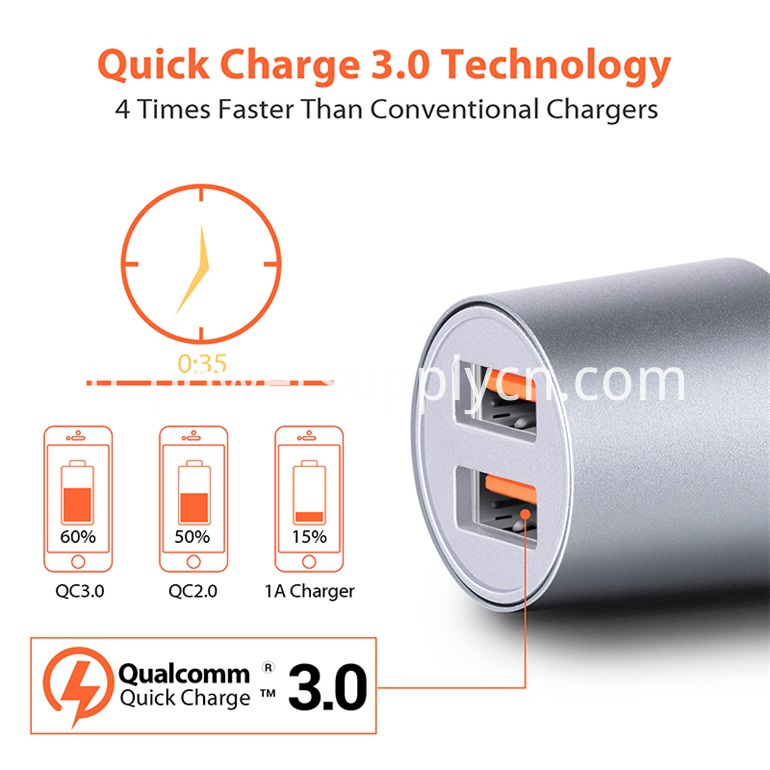 2usb Ports Car Charger Support Huawei Fcp
