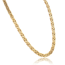New Gold Chain Design For Men 18K Gold Long Byzantine Chain Necklace