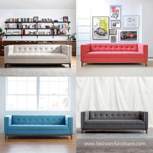 Mid-Century Fabric Upholstered Wooden 3-Seater Sofa