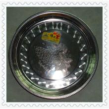 Vente chaude 30/32/34/36 / 38cm Magnietic Flower Rim Plaque ronde en acier inoxydable