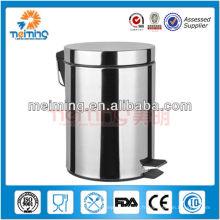 Poubelle / poubelle ronde de pédale d'acier inoxydable 5L