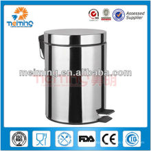 5L Stainless Steel round foot pedal garbage /waste bin