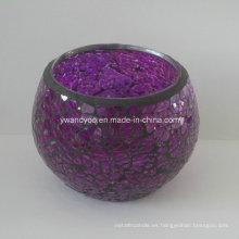 Candelero de lujo del vidrio de mosaico púrpura
