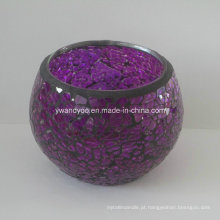 Suporte de vela de vidro roxo mosaico de luxo