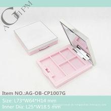 Plástico retangular sombra de olho caso com espelho AG-OB-CP1007G, embalagens de cosméticos do AGPM, cores/logotipo personalizado