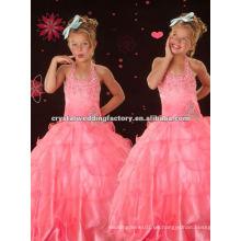 El halter caliente de la venta rebordeó la falda rosada rizada del vestido de bola el vestido por encargo del desfile florece los vestidos de la muchacha de flor CWFaf4241