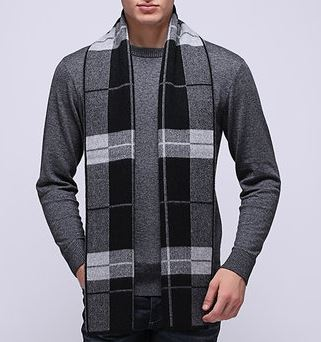 50% Wool 50% Cashmere Knitted Scarf -15