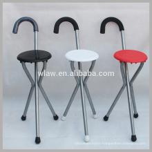 Three legs folding stool walking stick chair with seat
