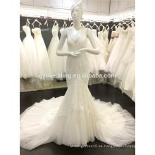 2015 estilo occidental cuello con cuello ver a través de corsé vestido de sirena de encaje de cola de tul vestidos de novia vestido de novia backless A081