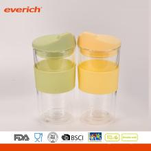 Hochwertiges doppeltes Wand-Glas BPA freie wiederverwendbare Glasschale