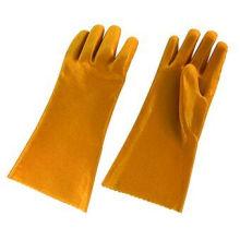 Gant de travail chimique à manches longues en PVC jaune (5108-YW)